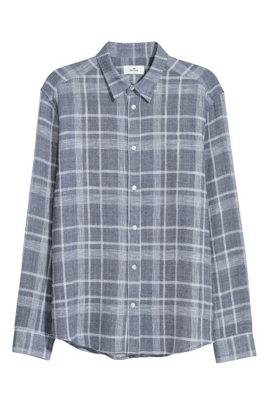 Cotton-blend shirt - Light blue/White checked - Men | H&M CN