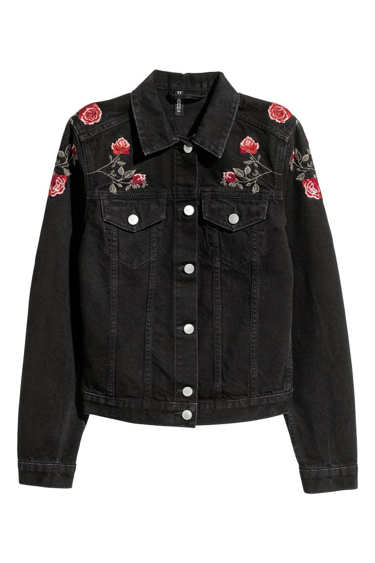 veste en jean noir roses h m fr. Black Bedroom Furniture Sets. Home Design Ideas
