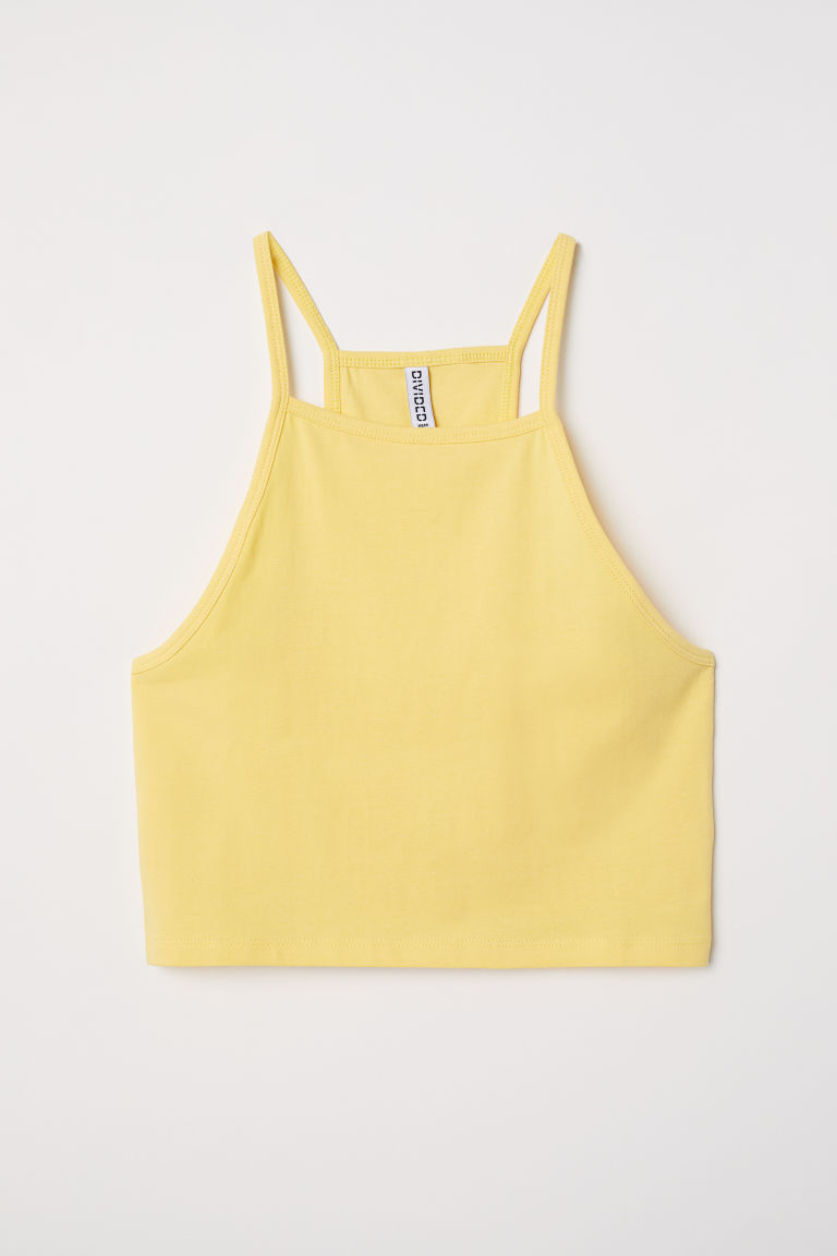 Short strappy top - Light yellow - Ladies | H&M CN