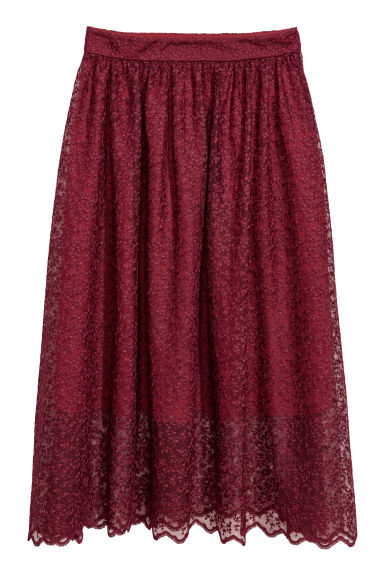 Calf-length skirt - Burgundy - Ladies | H&M
