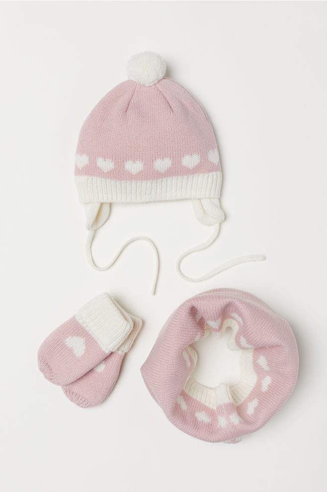 Hat, Mittens, and Scarf - Light pink/hearts - Kids | H&M US