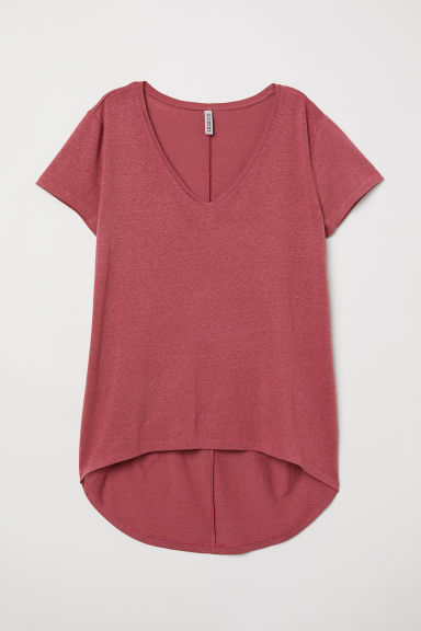 V-neck jersey top - Dark pink - Ladies | H&M CN