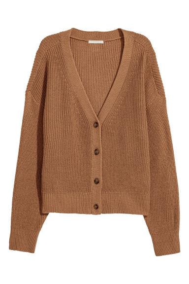 V-neck wool-blend cardigan - Camel - Ladies | H&M GB