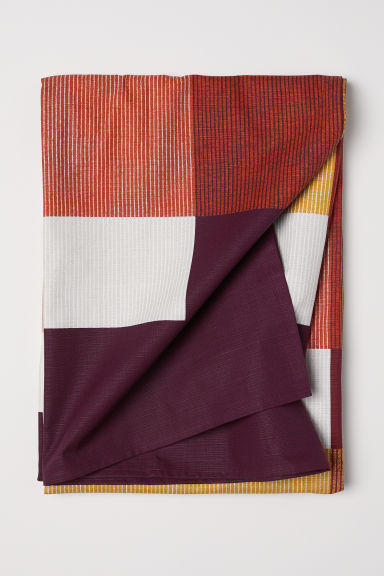 Block-print Cotton Tablecloth - Burgundy/color-block - Home All | H&M US