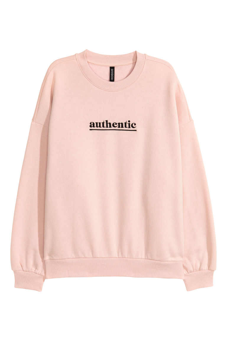 Sweatshirt with a motif - Powder pink/Authentic - Ladies | H&M