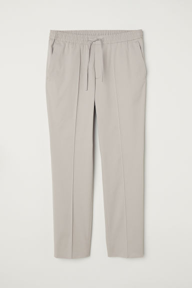 Elasticated cotton trousers - Light grey - Men | H&M