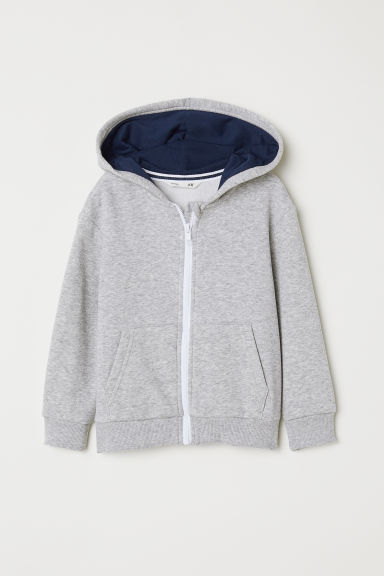 Hooded jacket - Light grey marl - Kids | H&M CN
