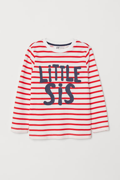 Printed top - Striped/Little Sis - Kids | H&M