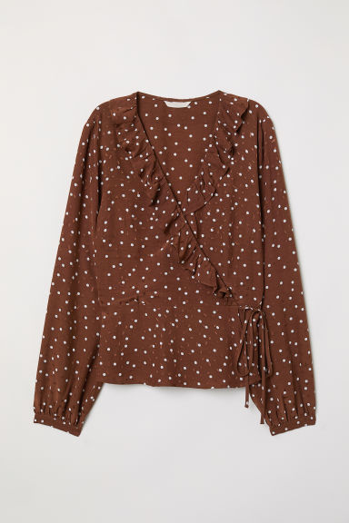 Wrapover blouse with flounces - Brown/Spotted - Ladies | H&M