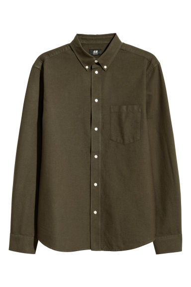 Oxford shirt Regular Fit - Dark khaki green - Men | H&M IN