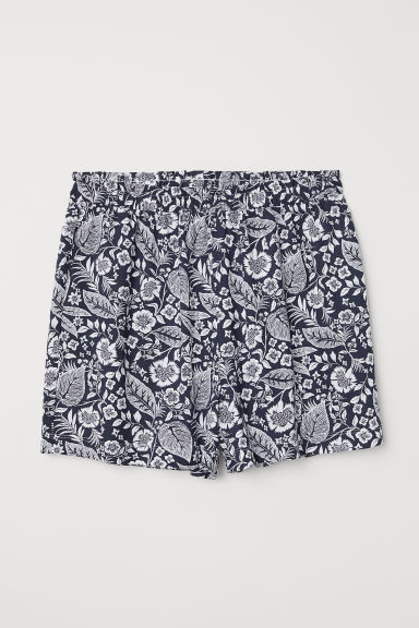 Modal-blend shorts - Dark blue/Floral - Ladies | H&M