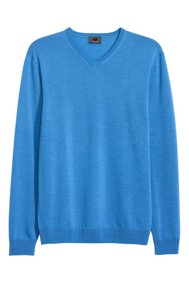 V-neck merino wool jumper - Blue - Men | H&M