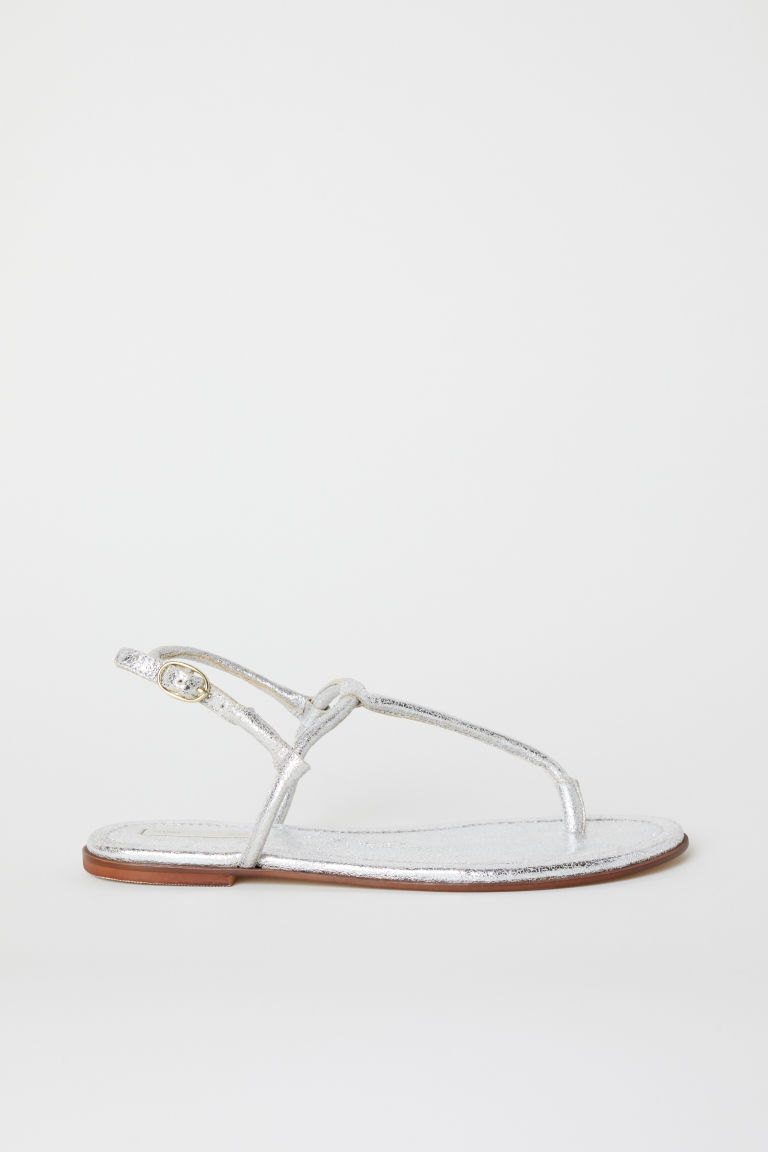 Leather sandals - Silver-coloured - Ladies | H&M