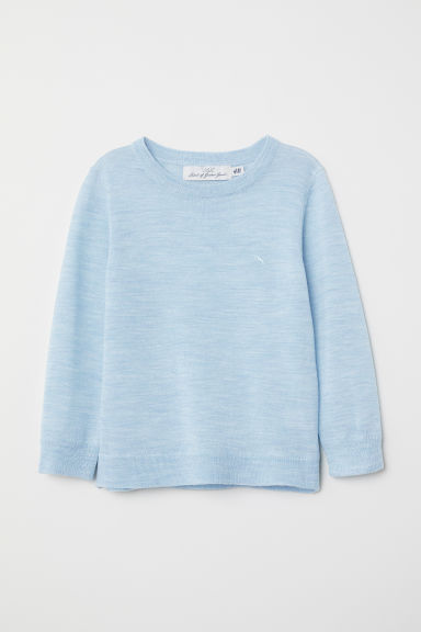 Fine-knit merino wool jumper - Light blue marl - Kids | H&M CN
