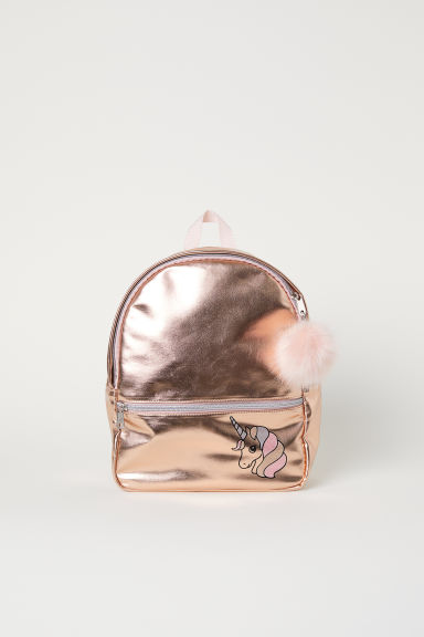 Shimmering metallic backpack - Rose gold-coloured/Unicorn - Kids | H&M GB