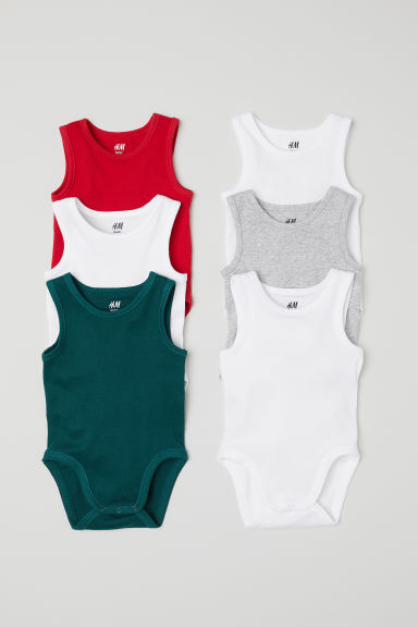6-pack sleeveless bodysuits - Red - Kids | H&M