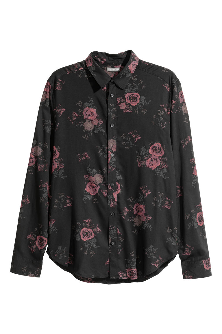 Viscose shirt - Black/Roses - Men | H&M
