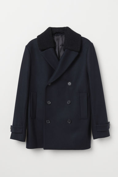 Wool-blend pea coat - Dark blue/Black - Men | H&M CN