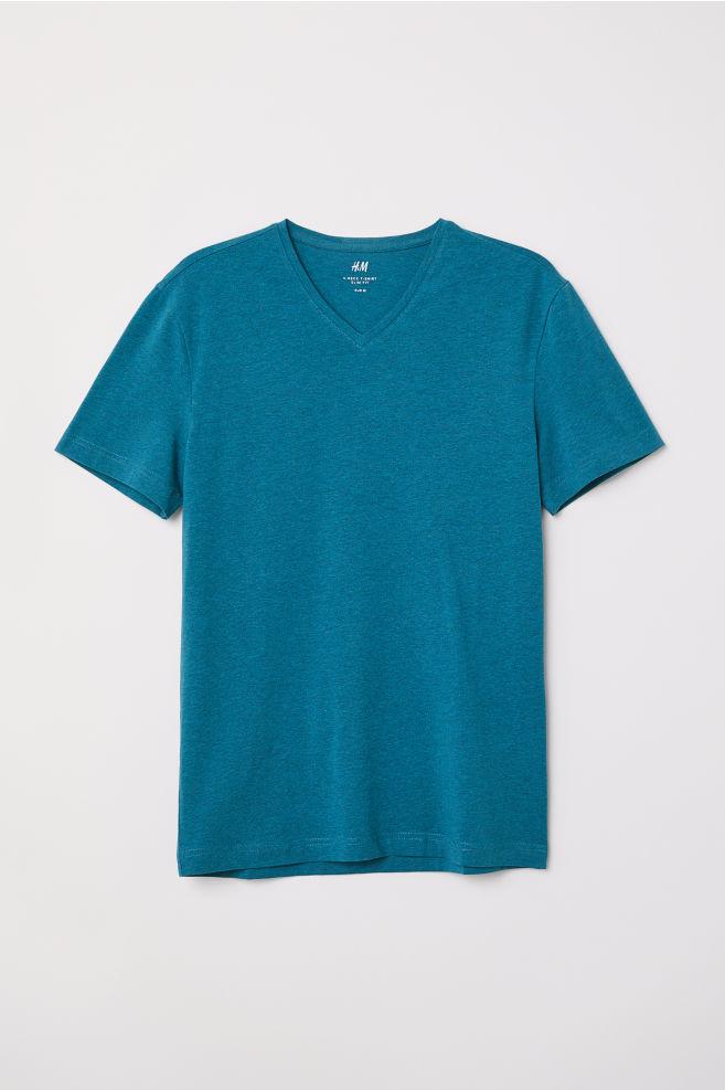 c927ca1de34 V-neck T-shirt Slim Fit - Dark turquoise marl - Men
