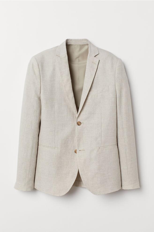 ad83d4b23ca ... Slim Fit Linen Blazer - Light beige - Men