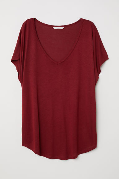Top met V-hals - Bordeauxrood - DAMES | H&M BE