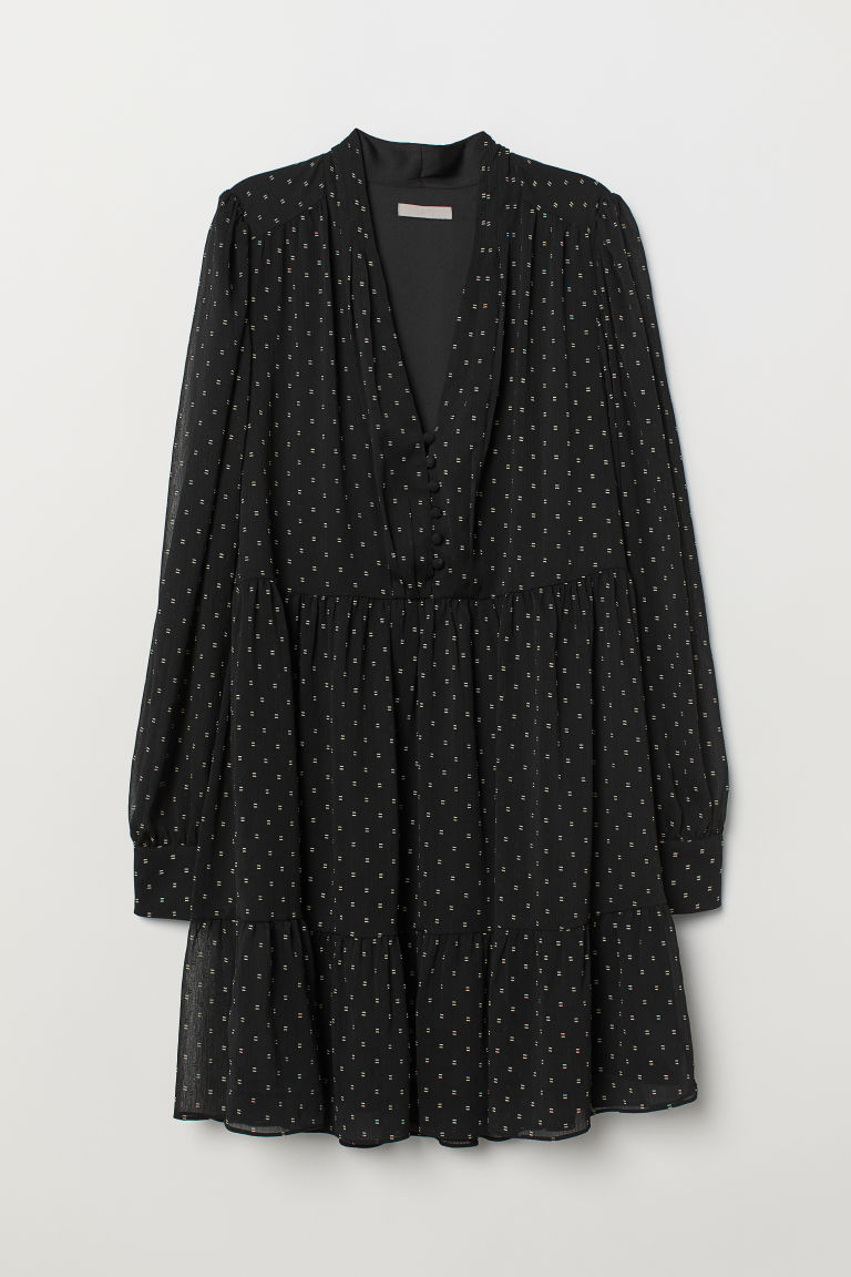 Puff-sleeved dress - Black/Patterned -  | H&M GB