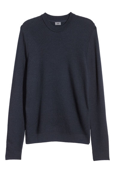 Textured wool-blend jumper - Dark blue -  | H&M
