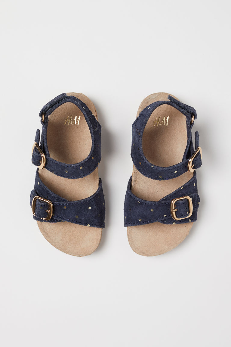 Suede sandals - Dark blue/Gold-coloured spots - Kids | H&M
