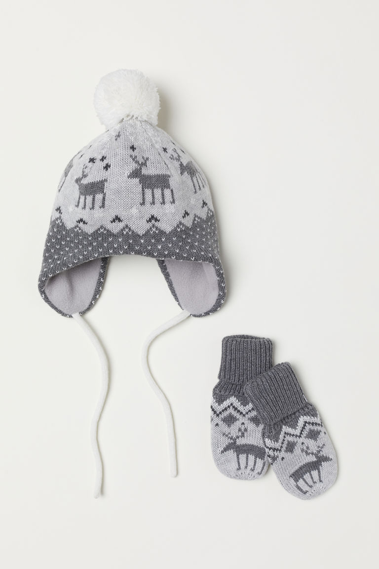 Hat and mittens - Grey - Kids | H&M