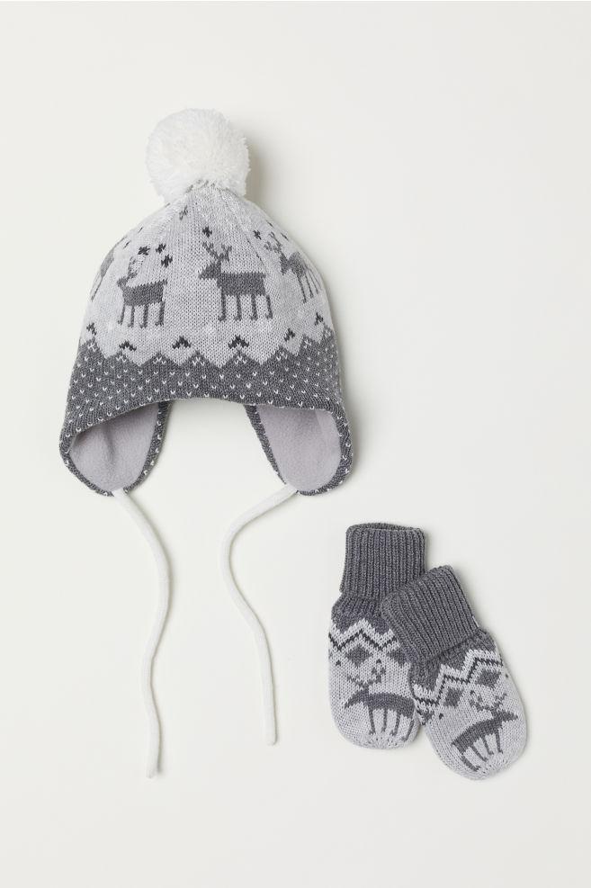 Bonnet et gants - Gris - ENFANT   H M ... 7704b5c5fc0