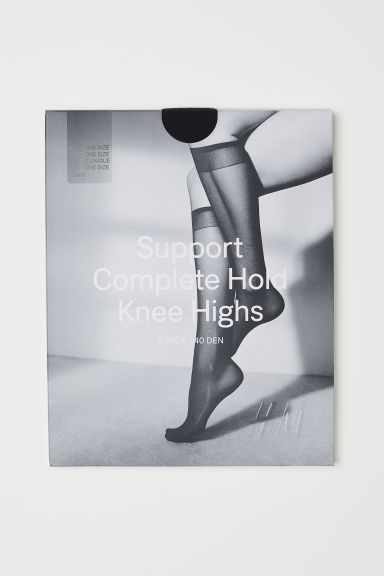 2-pack support knee socks - Black - Ladies | H&M CN
