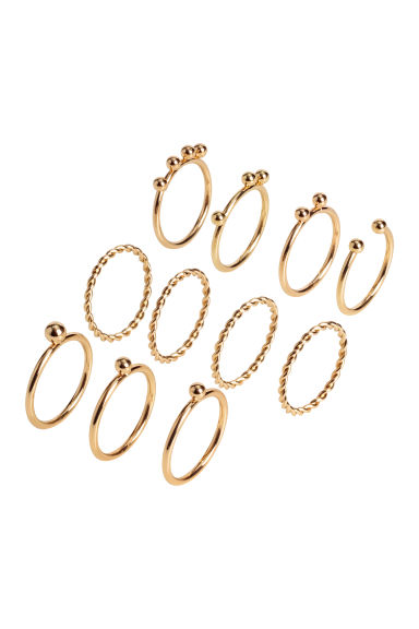 11-pack rings - Gold-coloured -  | H&M
