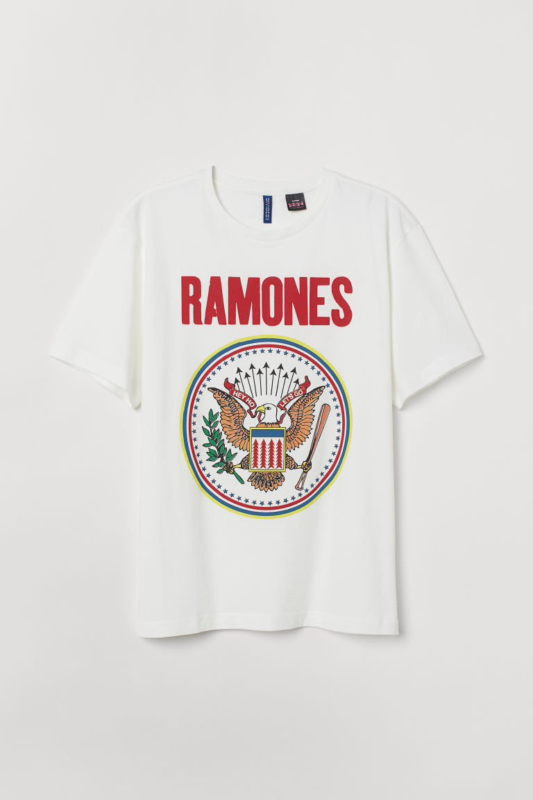 T-shirt with Printed Design - Natural white/Ramones - Men | H&M US