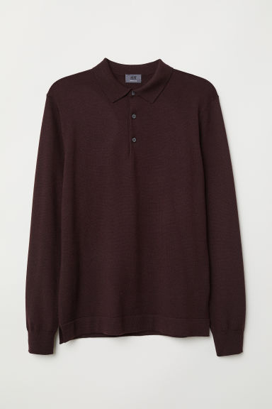 Merino wool jumper - Burgundy - Men | H&M
