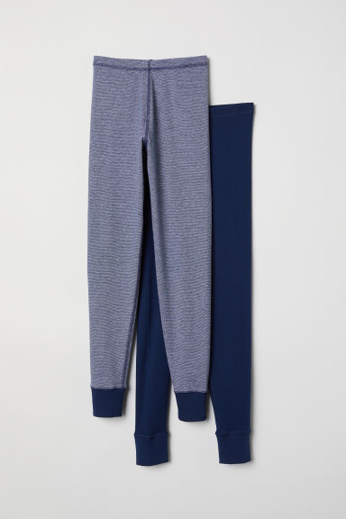 2-pack longjohns - Dark blue/Striped - Kids | H&M