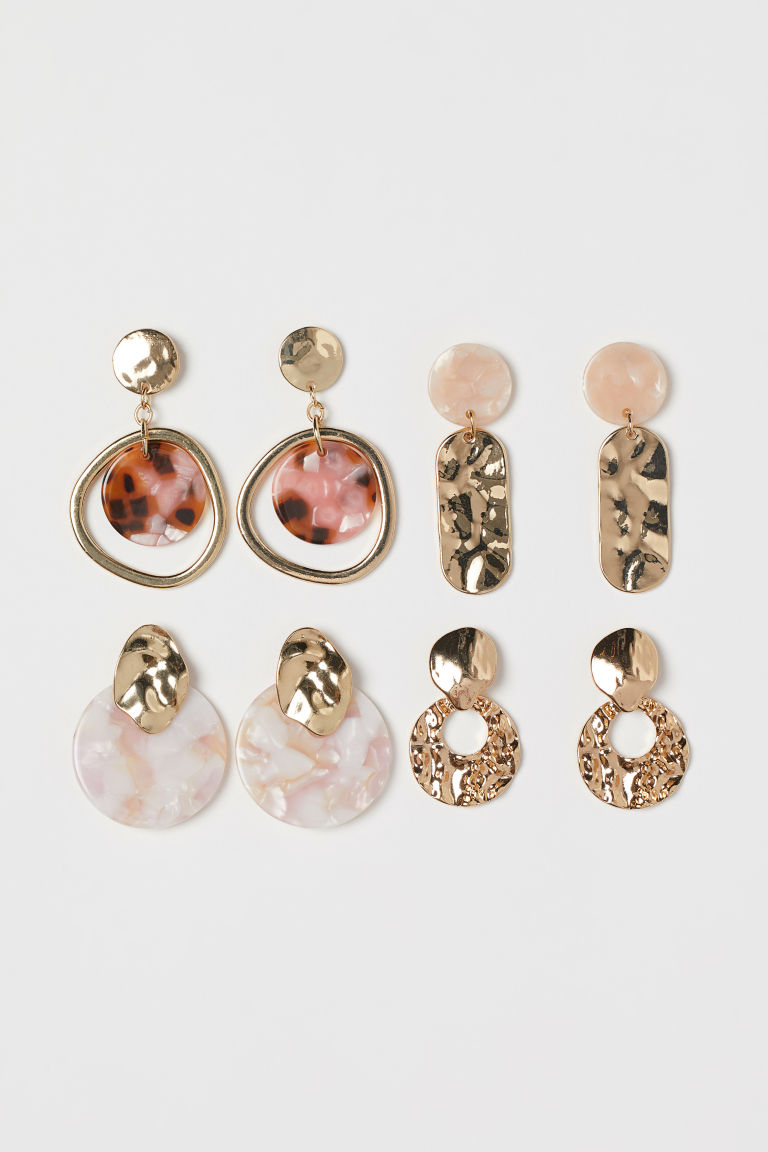 4 Pairs Earrings - Gold-colored/pink - Ladies | H&M US