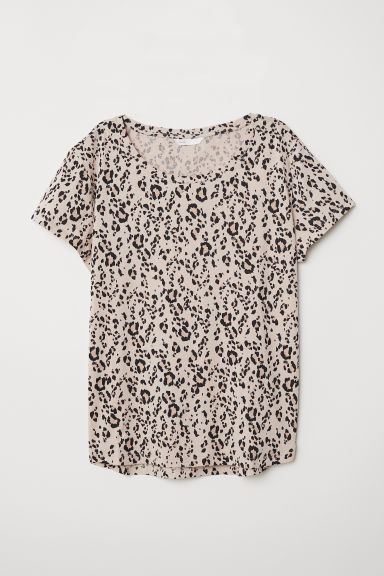 Cotton T-shirt - Light beige/Leopard print - Ladies | H&M