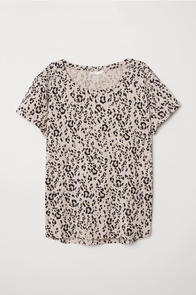 933e2bdc7fbf Cotton T-shirt - Light beige/leopard print - Ladies | H&M ...