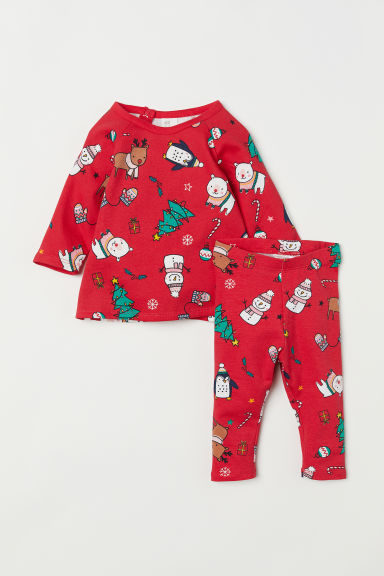 Top and leggings - Red/Patterned - Kids | H&M CN