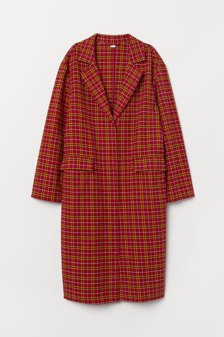 Felted coat - Red/Checked -  | H&M