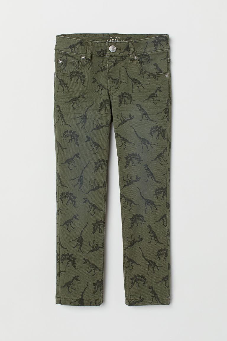 f075d762c43d2 Stretch twill trousers - Khaki green/Patterned - Kids | H&M CN