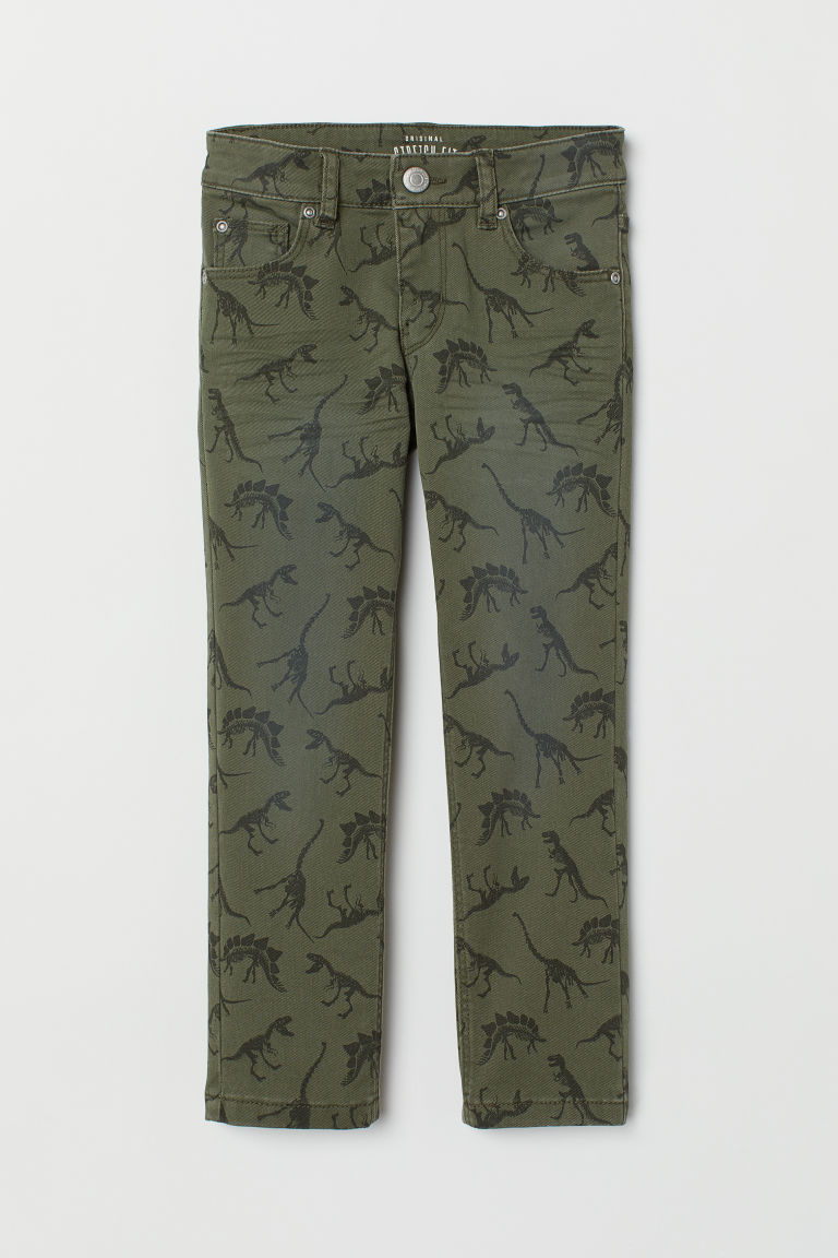 Slim-fit Twill Pants - Khaki green/patterned - Kids | H&M US