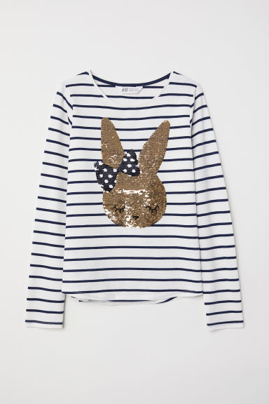Jersey top with a motif - White/Rabbit - Kids | H&M