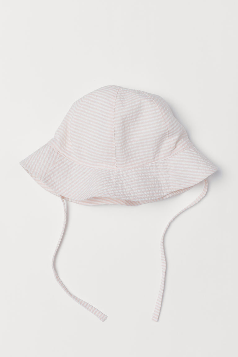 Sun hat with ties - Light pink/White striped - Kids | H&M