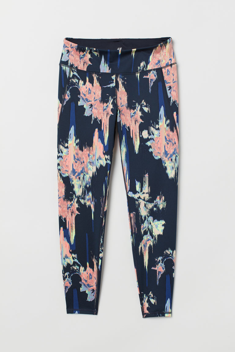 H&M+ Sports tights - Dark blue/Patterned - Ladies | H&M CN
