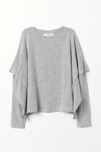 Top with flounces - Light grey marl - Ladies | H&M