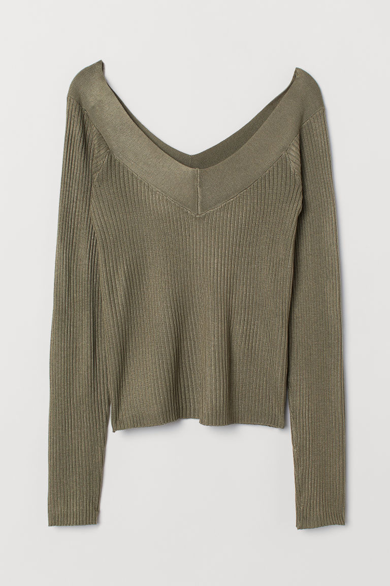 V-neck top - Khaki green -  | H&M CN