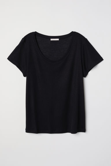 Lyocell T-shirt - Black - Ladies | H&M CN