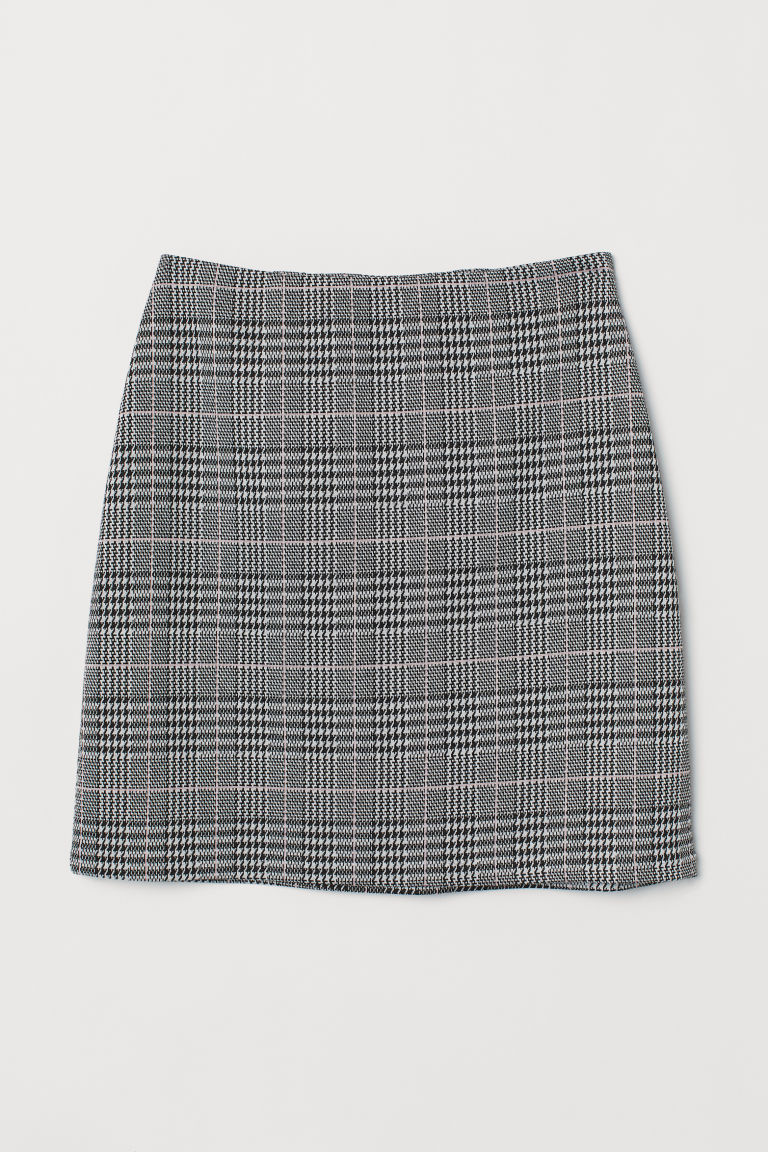 Short jersey skirt - Black/White checked -  | H&M GB