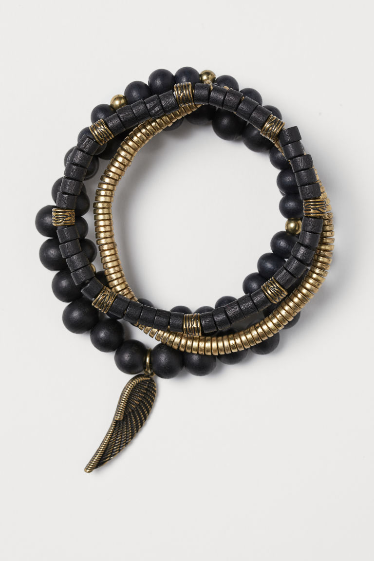 4-pack bracelets - Black/Gold-coloured - Men | H&M IN